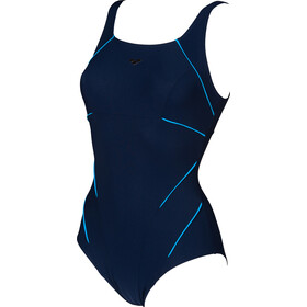 arena Jewel Low C Cup One Piece Swimsuit Dames, navy/turquoise